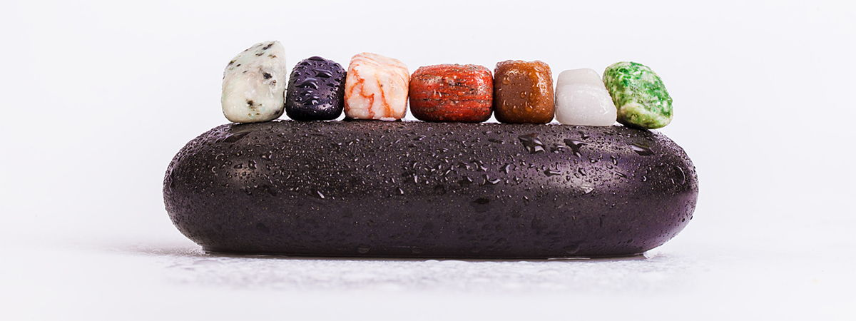 Chakra stones in a line